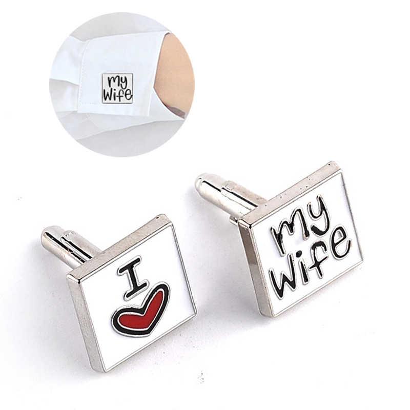 Yeni Moda Erkekler Için Kol Düğmesi Aşk Eşim Tasarım Iyi Koca manşet Erkek Gömlek Charm Çinko Alaşım Kol Düğmeleri 8C1735