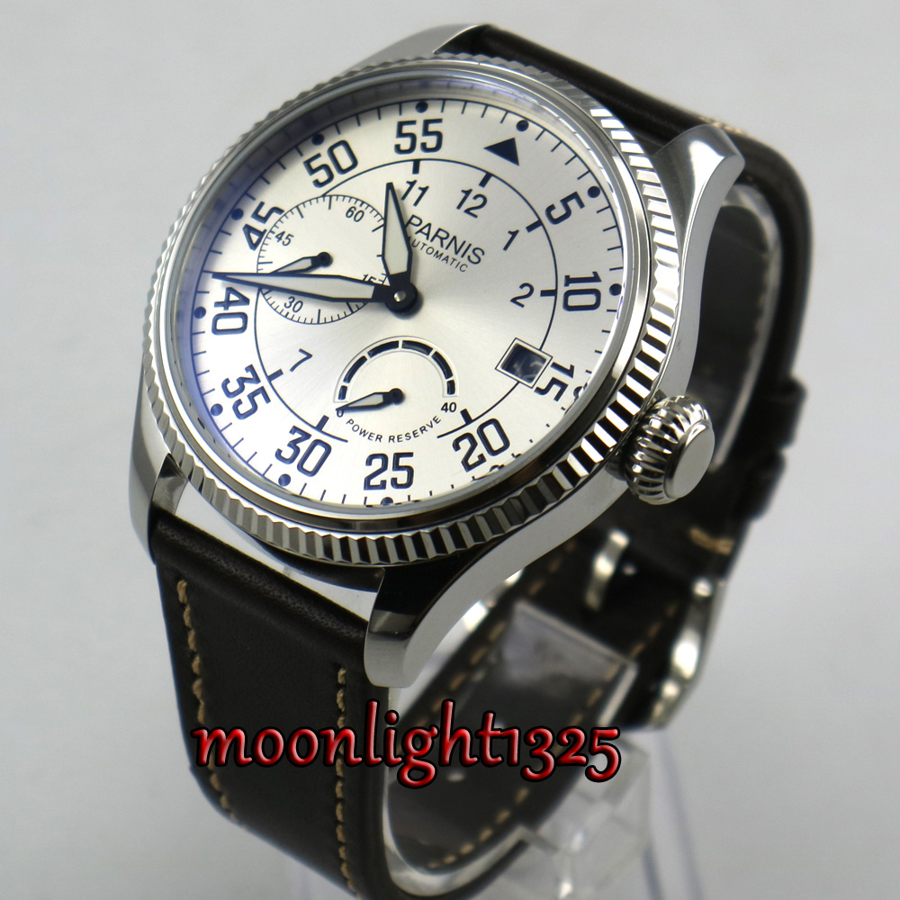 лучшая цена 45mm Parnis white dial date window ST2530 Automatic Movement Mens Watch