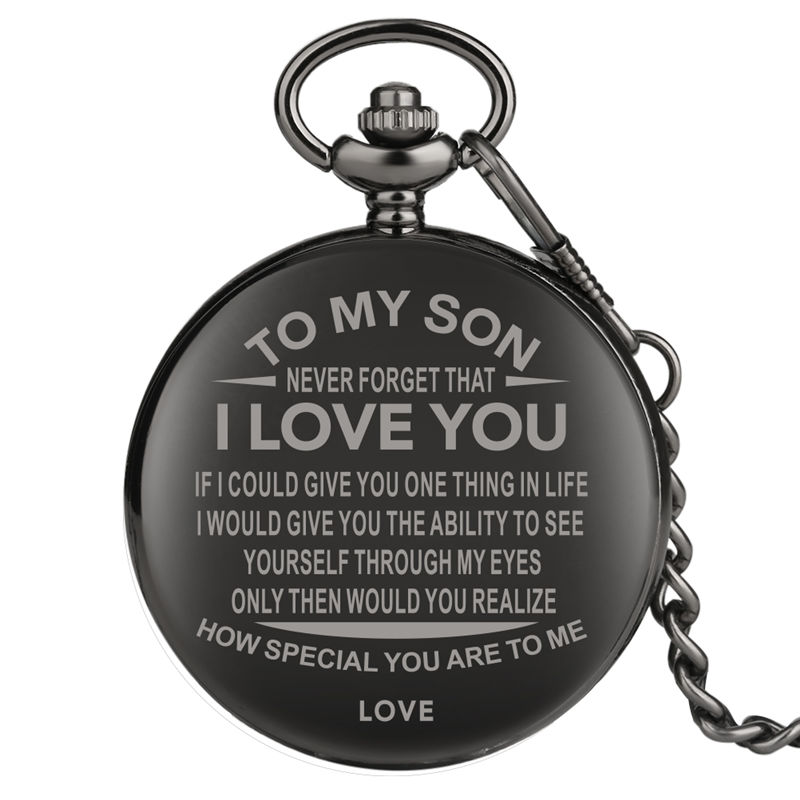 2019 Quartz Pocket Watch Black Watch Necklace Carving Letter Roman Dial Gift For Husband Son Steampunk Style Reloj Bolsillo