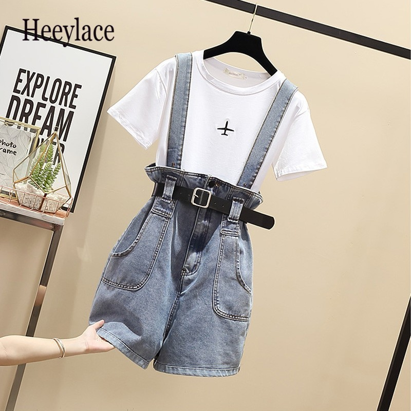 plus size 2 pieces short set summer Sweet Korean cotton t shirt tops and shorts 2 pieces sets women clothing two pieces outfits