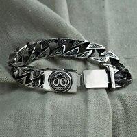 Панк большой состояние Для мужчин t браслет 925 пробы серебряные браслеты рождественские подарки S925 Solid тайский серебряный скелет браслет Дл