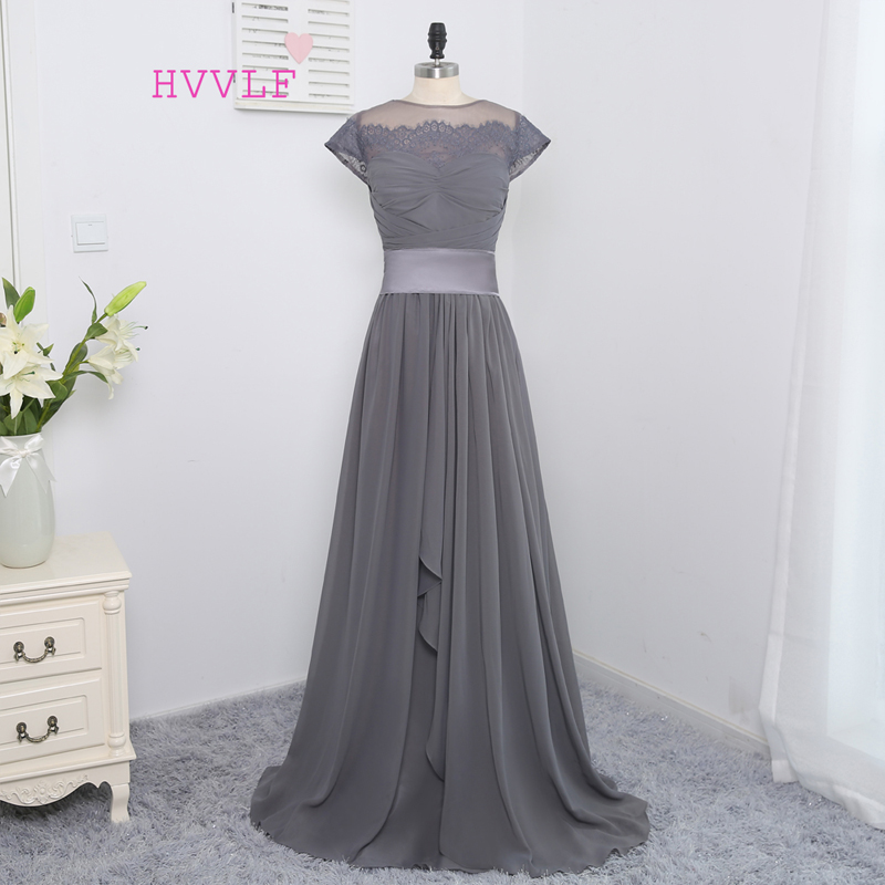 2019 Cheap   Bridesmaid     Dresses   Under 50 A-line Cap Sleeves See Through Bow Gray Chiffon Lace Wedding Party   Dresses