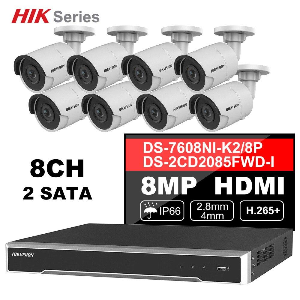Hik Original 8CH HD réseau POE NVR Kit système de sécurité CCTV 8 pièces 8MP balle caméra IP extérieure IR Vision nocturne ensemble de Surveillance