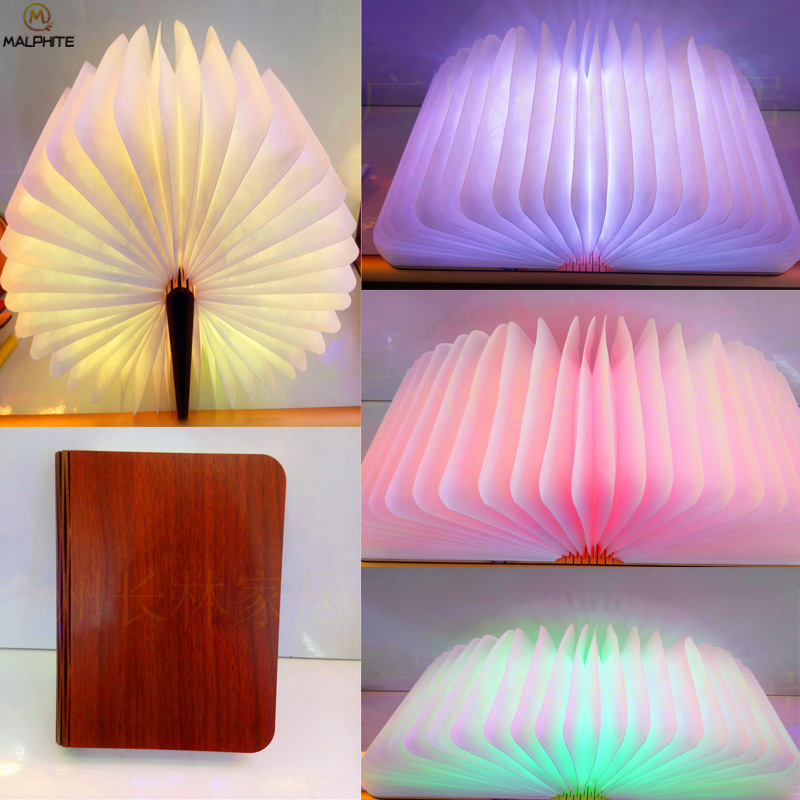 Folding Wooden Book Lamp LEDnight Light USB Charging Colorful Night Lamp Christmas Decorative Lights Birthday Gift LuminariaFolding Wooden Book Lamp LEDnight Light USB Charging Colorful Night Lamp Christmas Decorative Lights Birthday Gift Luminaria