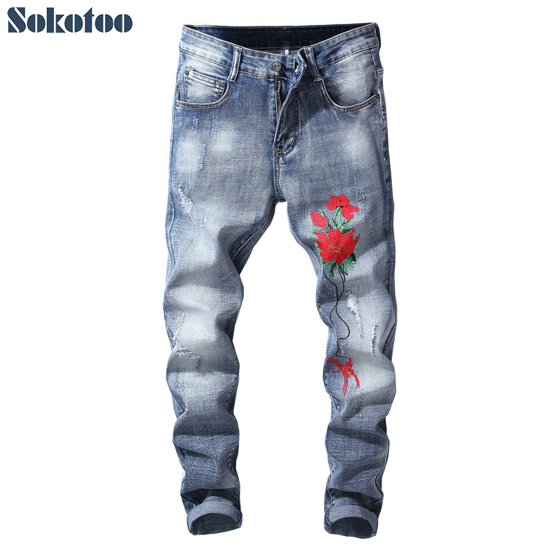 Sokotoo Mens red flower embroidery jeans Fashion slim embroidered stretch blue denim pants