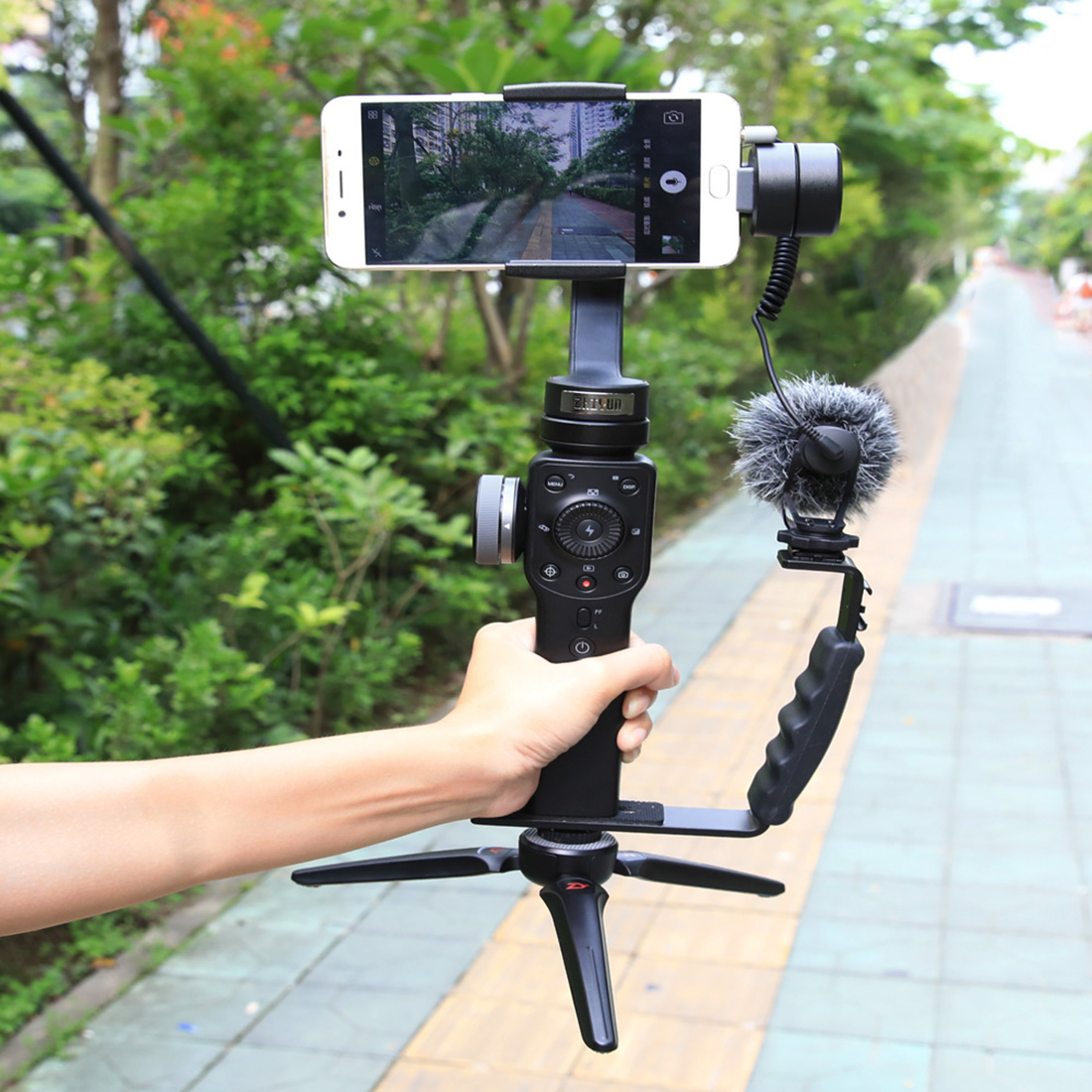 L Shape Stand Bracket Holder For DJI Osmo Mobile 2 Support For Microphone Photography