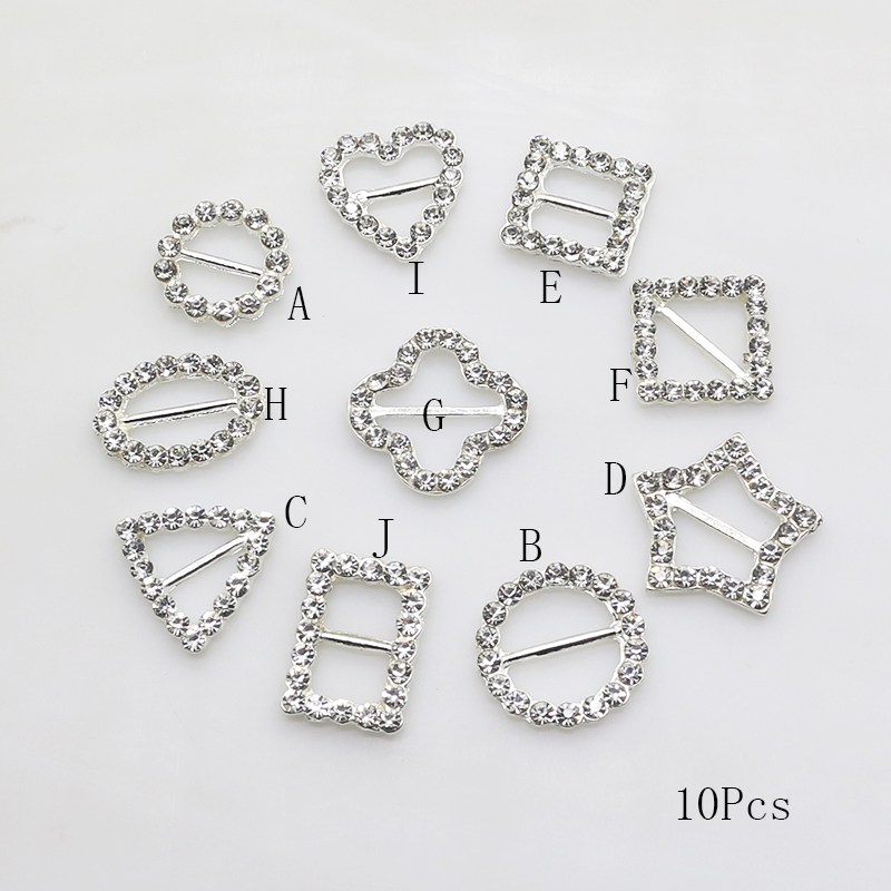ZMASEY Metal Buckles 10Pcs/Lot Mix Size Firm Alloy Rhinestones Buckle Holiday Gift Wrapping Decoration Sewing Ribbon Accessories gift wrapping