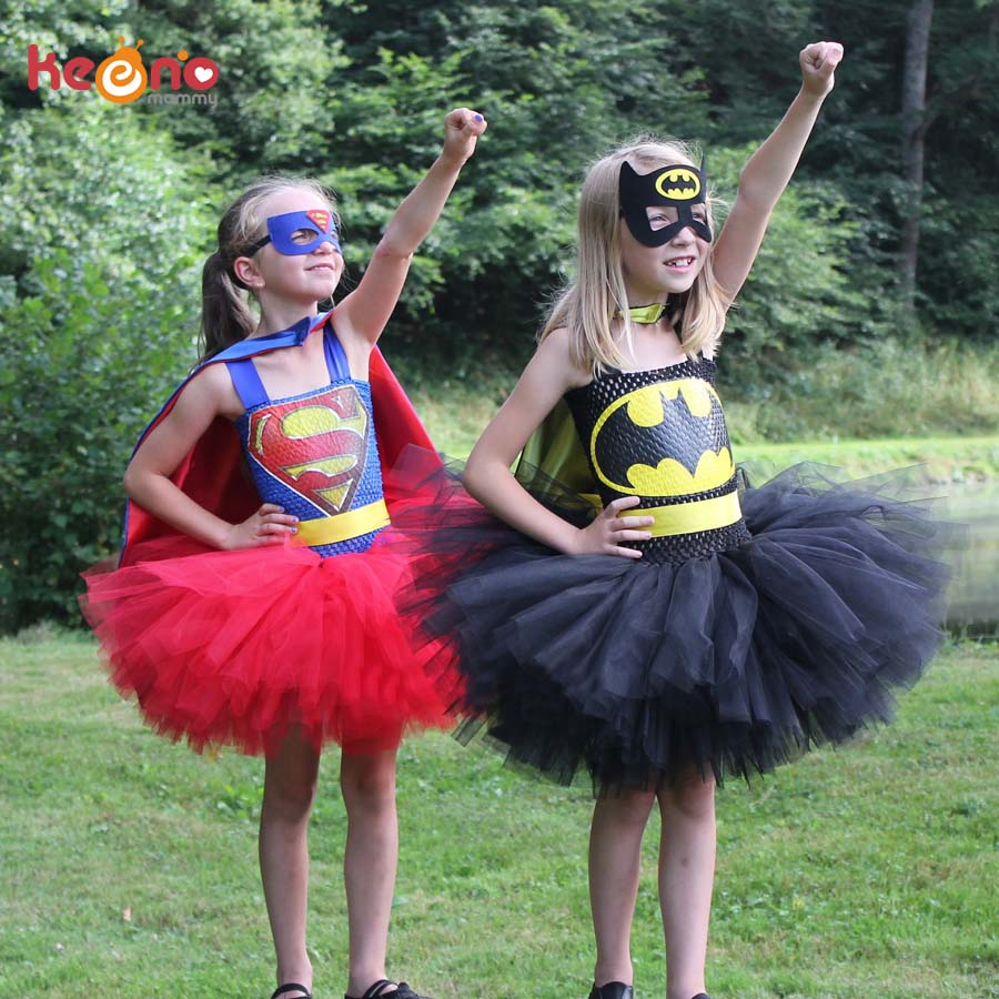 Superman Batman Girls Tutu Dress with Mask Super Hero Inspired Baby Costume Kids Cosplay Christmas Halloween Tutu Dress 1cape 1mask cloak kids superhero capes boy children superman batman spiderman halloween baby costume cosplay super hero mask