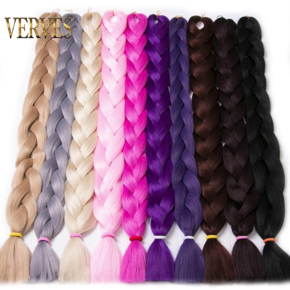VERVES trenzado de cabello de una pieza 82 pulgadas sintético Kanekalon fibra trenza 165 g/unid puro color crochet trenza Jumbo extensiones de cabello