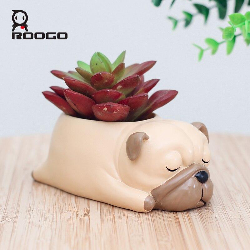 Roogo Cartoon Pug Dog Decorative Bonsai Pots Resin Animal