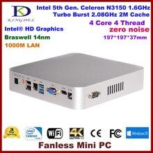 DHL Free 14nm Mini PC Intel 5th Gen. Celeron N3150,Quad Core,Business Compute,Home PC,HDMI,VGA,Optical,COM RS232,Windows 10 PC