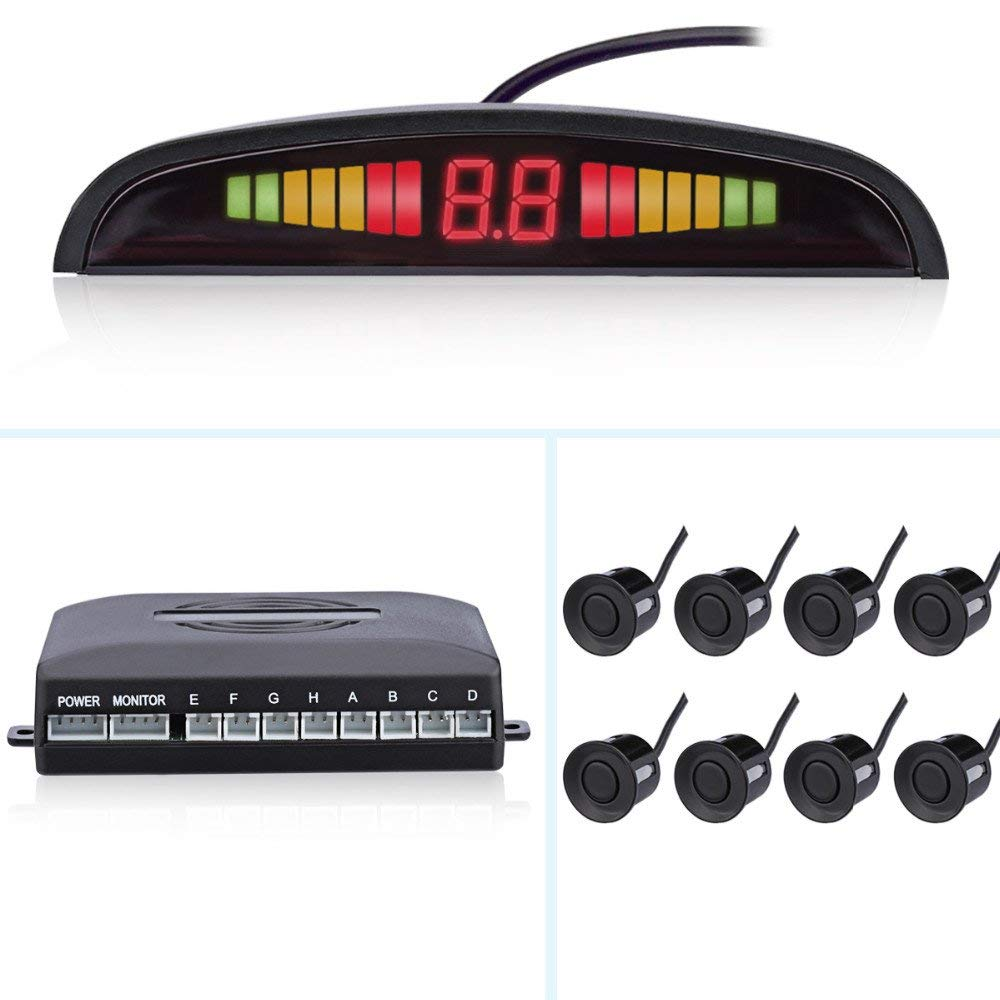 8 Sensors Car Auto Parking Sensor Front and Rear LED Display Indicator Radar Kit with LED Display Monitor Car Parking System parking sensors 39680 shj a61 for honda crv black white silver free shipping auto sensors ultrasonic sensor car sensor