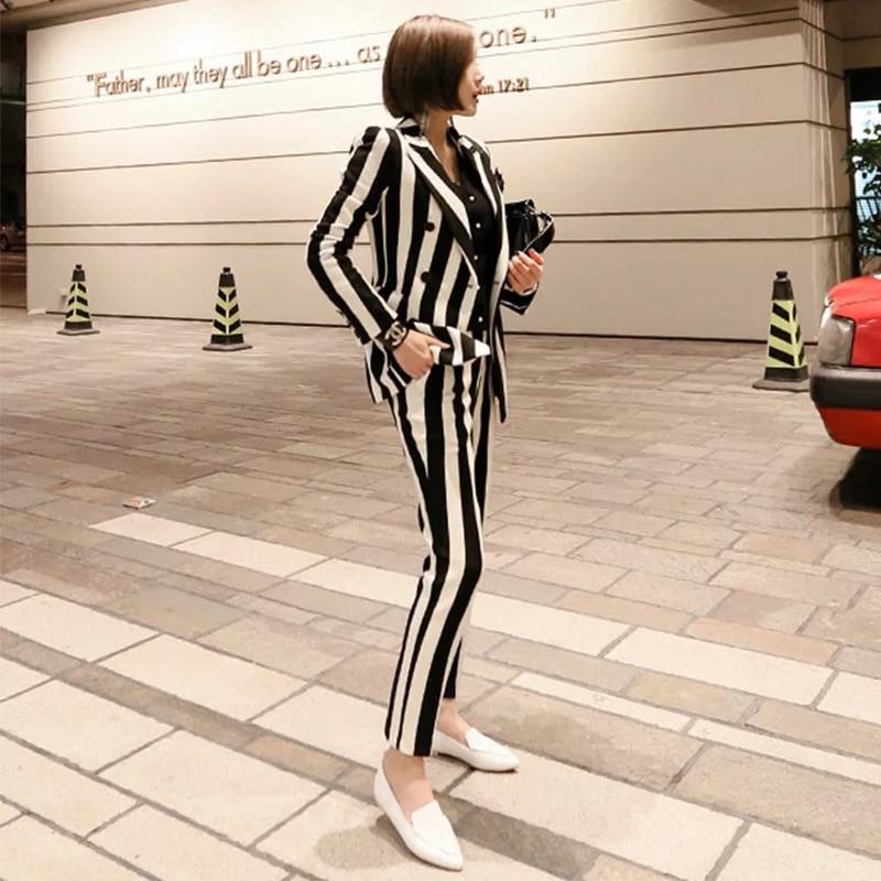 New Fashion Autumn Women's OL Professional Temperament Double-Breasted Fashion Warm Striped Blazer Slim Pants Two-Piece Set