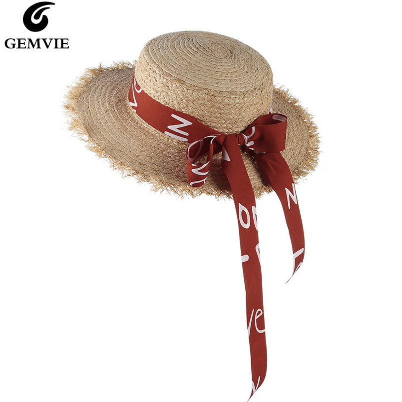 Red Ribbon Bow Straw Hats Boater Summer Hat for Women Fashion Travel Uv Sun Hat