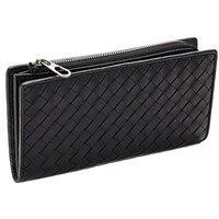 Hand Knitting Zipper & Hasp Sheepskin Long Standard Wallets Unisex Card Holder Clutch Coin Bag Girl Woman Man Money Purse W132
