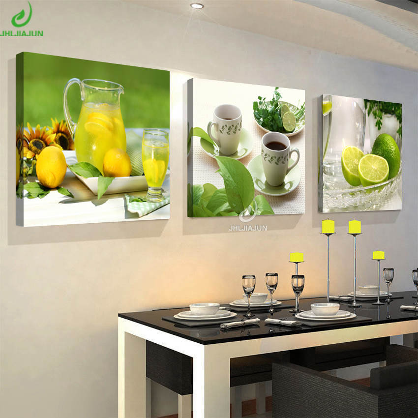 Modular Pictures Painting Poster Wall-Panels Flowers Lemon Fruits Living-Room Kitchen Canvas