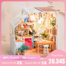 Robud DIY Miniature House Jason's Kitchen Doll House Kits Dollhouse with Furniture Toys for Children Best Gift for Girls DG105(China)