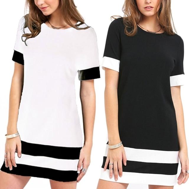 e8dfeeb46d Women s Dresses Casual Black White Patchwork O-Neck Short Sleeve Shift Dress