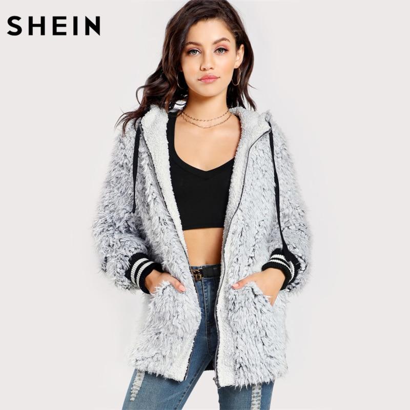 SHEIN Striped Trim Faux Fur Hoodie Jacket Winter Coat Women Black and White Autumn Outerwear Womens Hooded Jacket