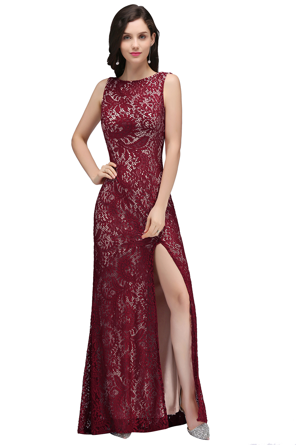 2019 Sexy High Split Lace Mermaid Long Prom Dresses Sleeveless Applique Prom Gown Gala Dress Vesitdo de festa