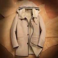 Hooded Mens Shearling b3 Sheepskin Coat Long Style Coat Fur Jacket Handsome Business Casual Travel Jacket