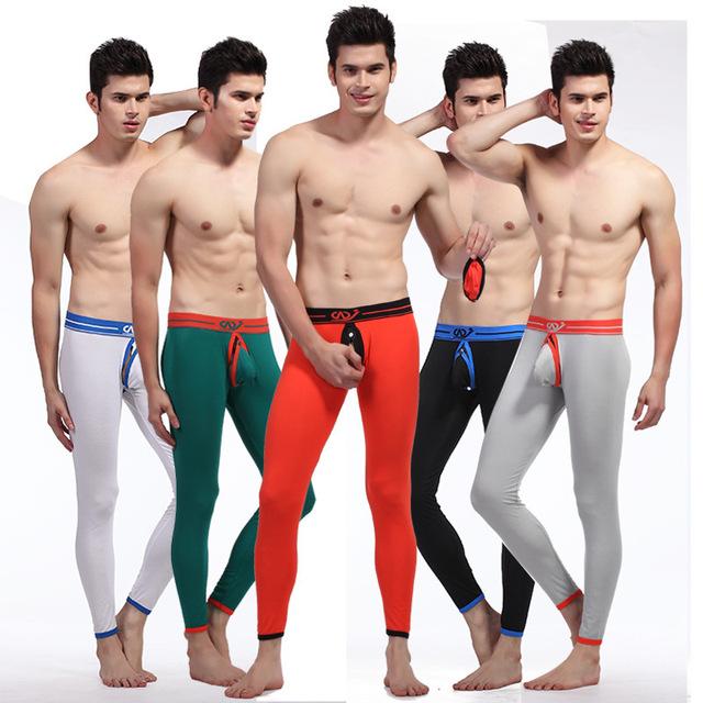 WJ Ropa Interior Masculina de Los Hombres Pantalones Calientes Pantalones de Algodón Equipamiento Del Hogar Tanga Calzoncillos Largos