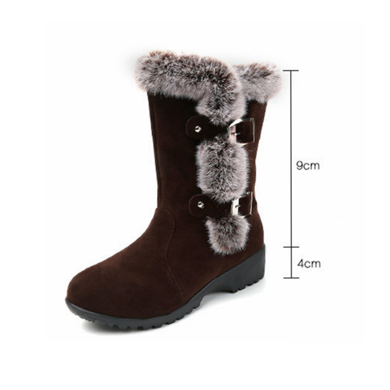 2017 Winter Mid-Calf Women Snow Boots Plush Warm Lady shoes Woman Round Toe Buckle Fur Botas Mujer Plus Size 35-41 prova perfetto winter women warm snow boots buckle straps genuine leather round toe low heel fur boots mid calf botas mujer