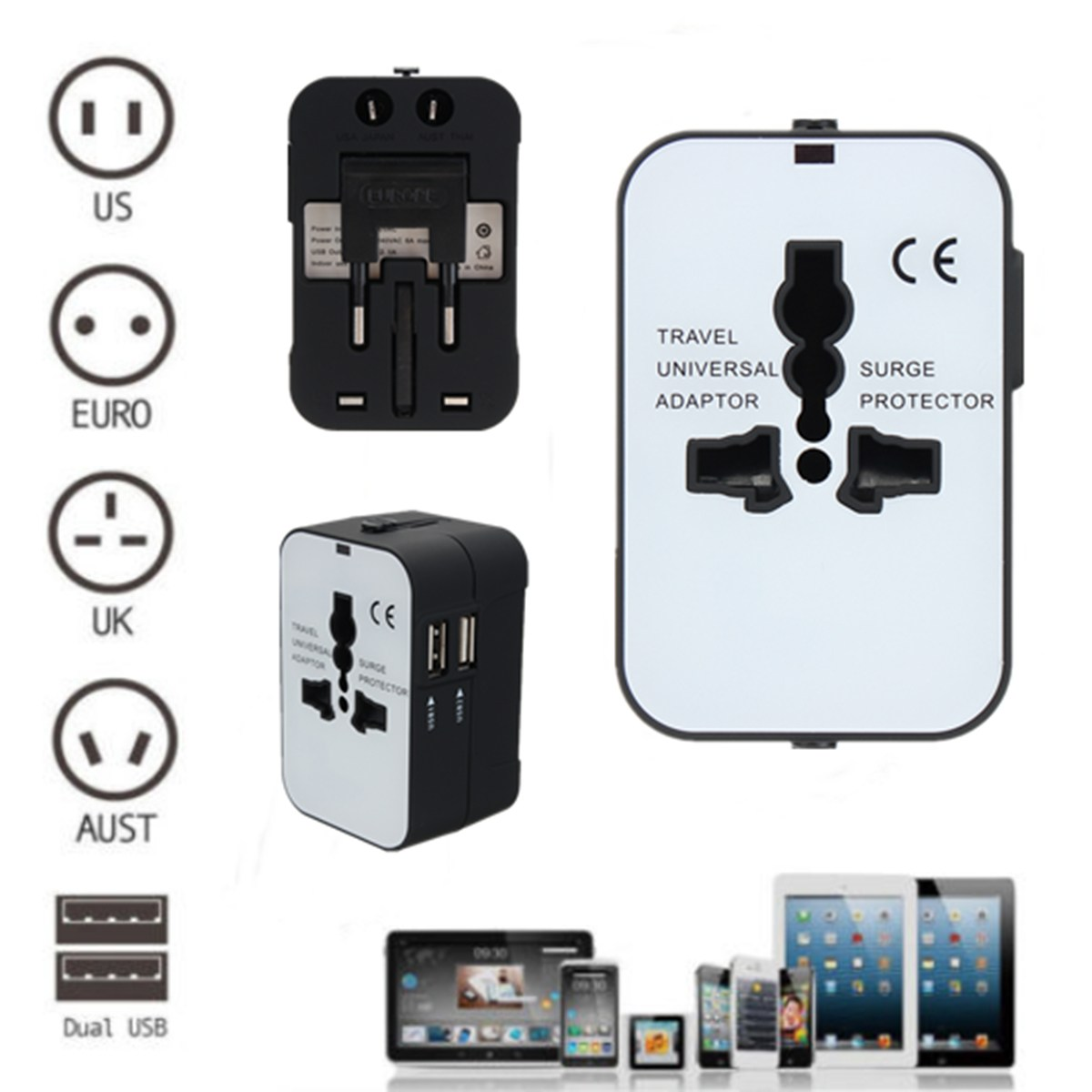 Universal Travel AC Power Adapter Converter Charger W/ Power Indicator Light 2 USB Port