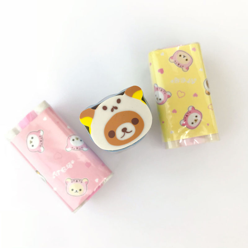 1X Kawaii Bear Cutable Eraser Mini School Supply Student Stationery Writing Drawing Correction Rubber Kids Gift