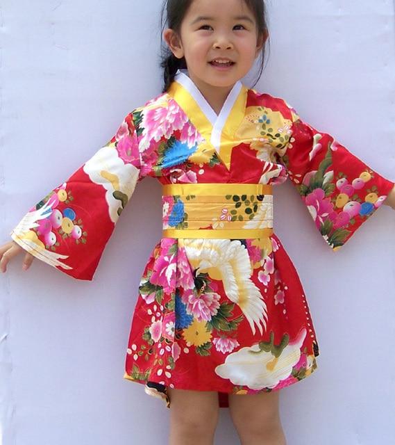 4d0f80f07a 2019 new Children Yukata Peacock Japanese Girl's Kimono Kids Yukata Haori  Dress Traditional Japanese Kimono