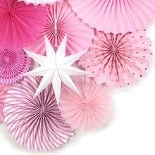 13pcs/Set Pink Theme Party Paper Fan