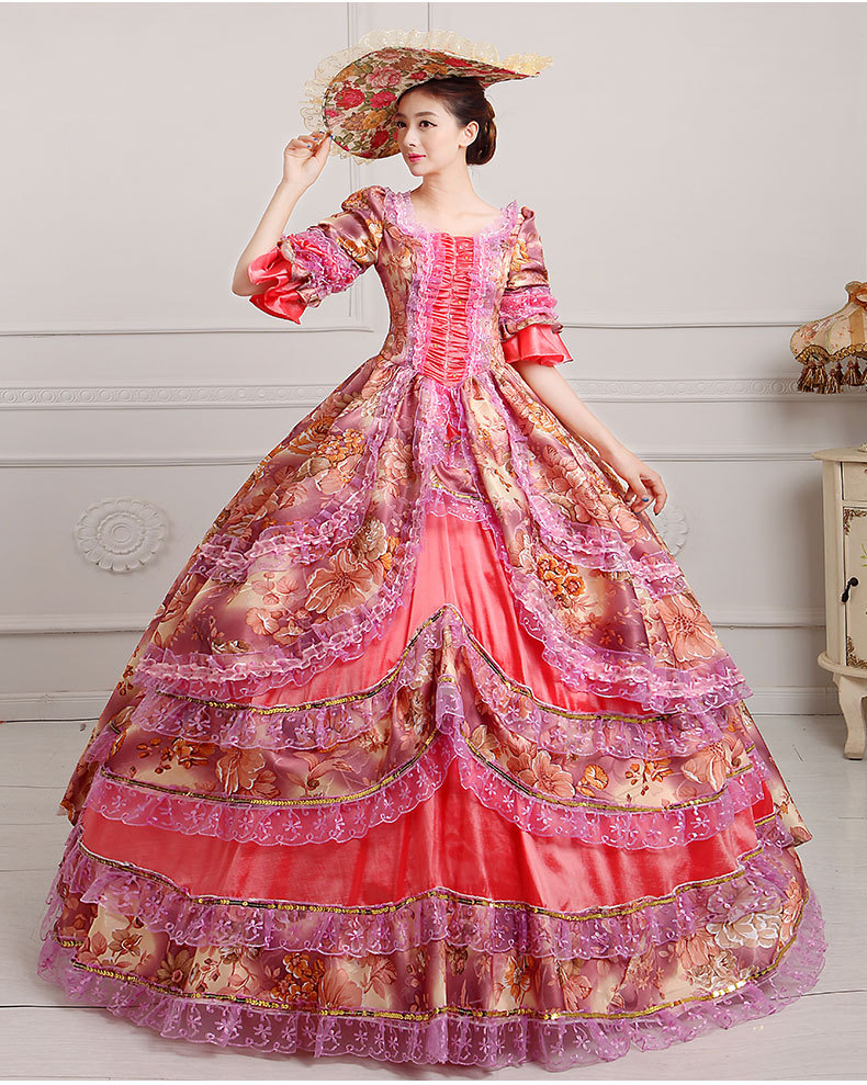 luxury floral printing ruffled flare sleeve medieval dress with hat renaissance Gown princess cosplay Victorian/belle ball gown