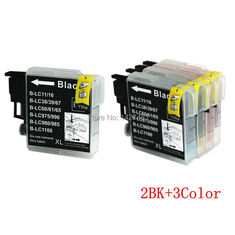 YOTAT 2bk+3c ink cartridge LC39 LC60 LC975 LC985 for brother DCP-J125 DCP-J315W DCP-J515W MFC-J220 MFC-J265W MFC-J410 brother lc985bk black картридж для brother dcp j315w dcp j515w mfc j265w