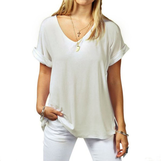 Plus Size S-5XL T shirt 2018 Fashion Women V-neck Short Sleeve Basic T-shirt Summer Casual Loose Cotton Tops Tee Female Blusas