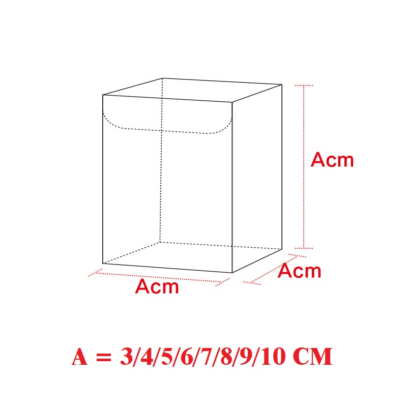A *A*A CM (A=3/4/5/6/7/8/9/10) Transparent Waterproof Clear PVC Boxes Packaging Plastic Candy Box Storage Event&Party Supplies