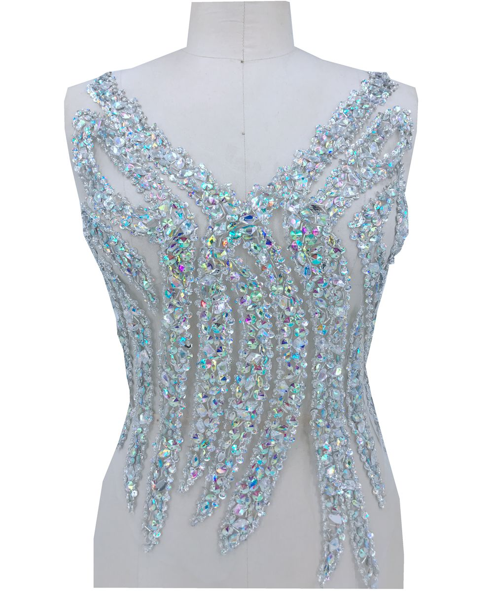 Free shipping Handmade AB colour crystal patches sew on Rhinestones applique with stones sequins beads 54