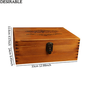 Image 2 - DESIRABLE 1 Pcs Solid wood Vintage Large Jewelry Box Keepsake Case Photo Letter beautiful Memories Retro Storage Boxes With Lock