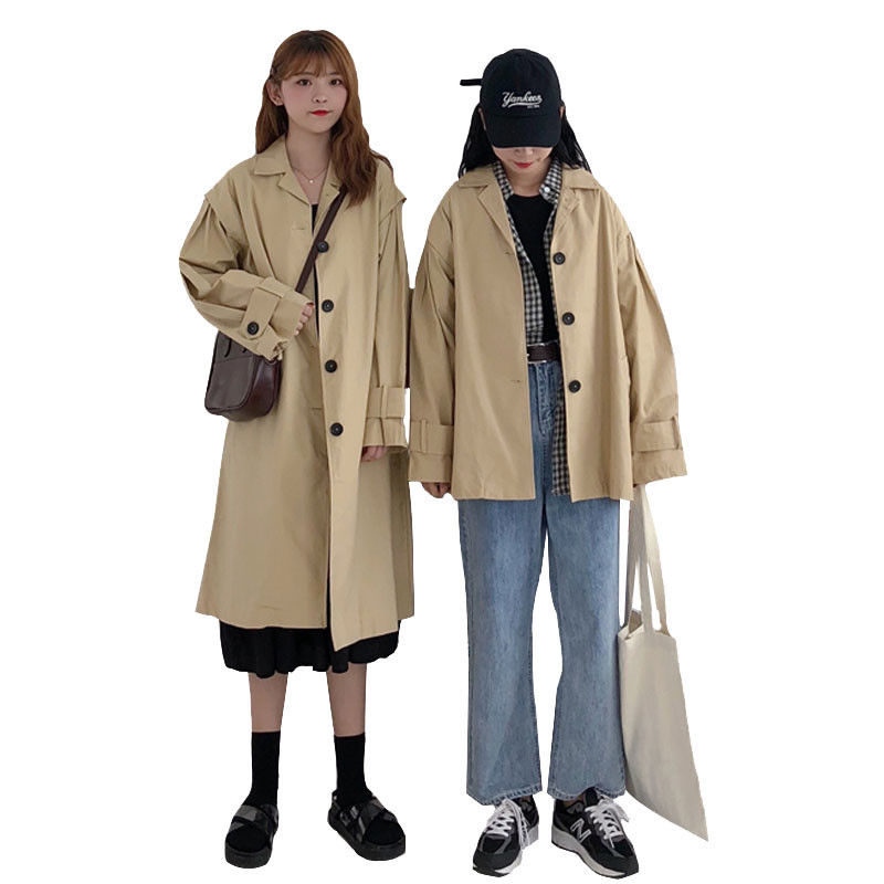 Thin   Trench   coat for Womens 2018 Spring Autumn Loose Student Short Windbreaker Large size Khaki Casual top Long coat Female 2230