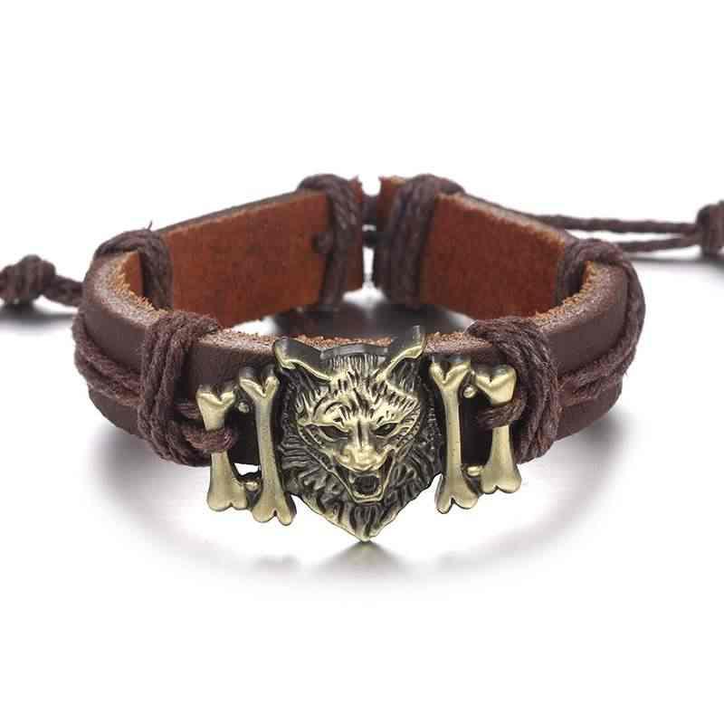 W stylu Vintage wilk ze stopu skórzane bransoletki mężczyźni bransoletka łańcuch regulowana lina biżuteria urok 2018 hurtownia moda Punk kości