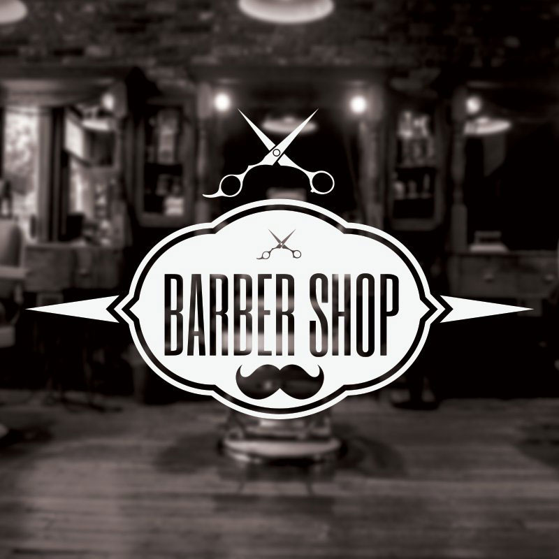 Barber Shop Sign Wall Decal Hairdresser Salon Wall Window Decor Stickers Posters Mustache Scissors Removable Mural 3W17 in Wall Stickers from Home Garden