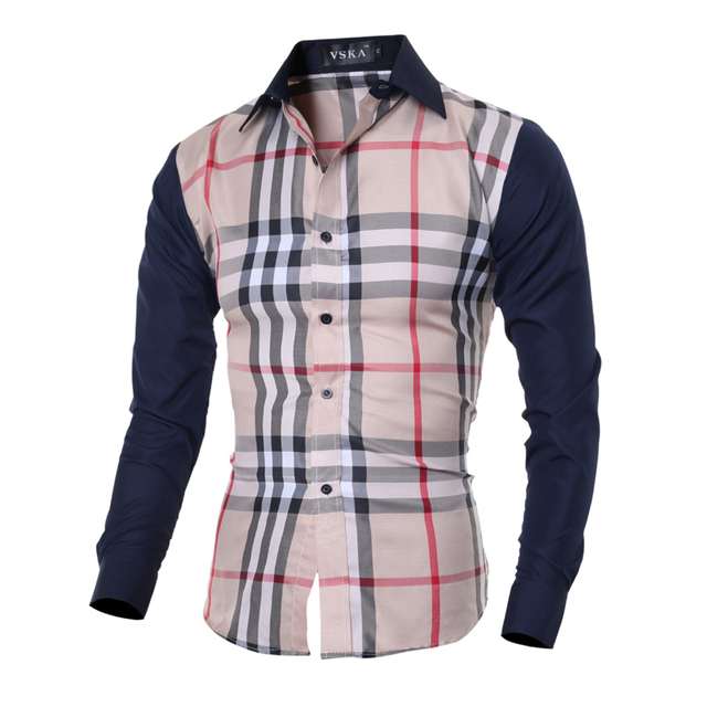 e73559d0f4 2016 New Men Hit color Plaid Long sleeve Shirts Spring and Autumn Man Shirt  Formal&Casual Fashion Dress Men's Shirts-in Casual Shirts from Men's ...