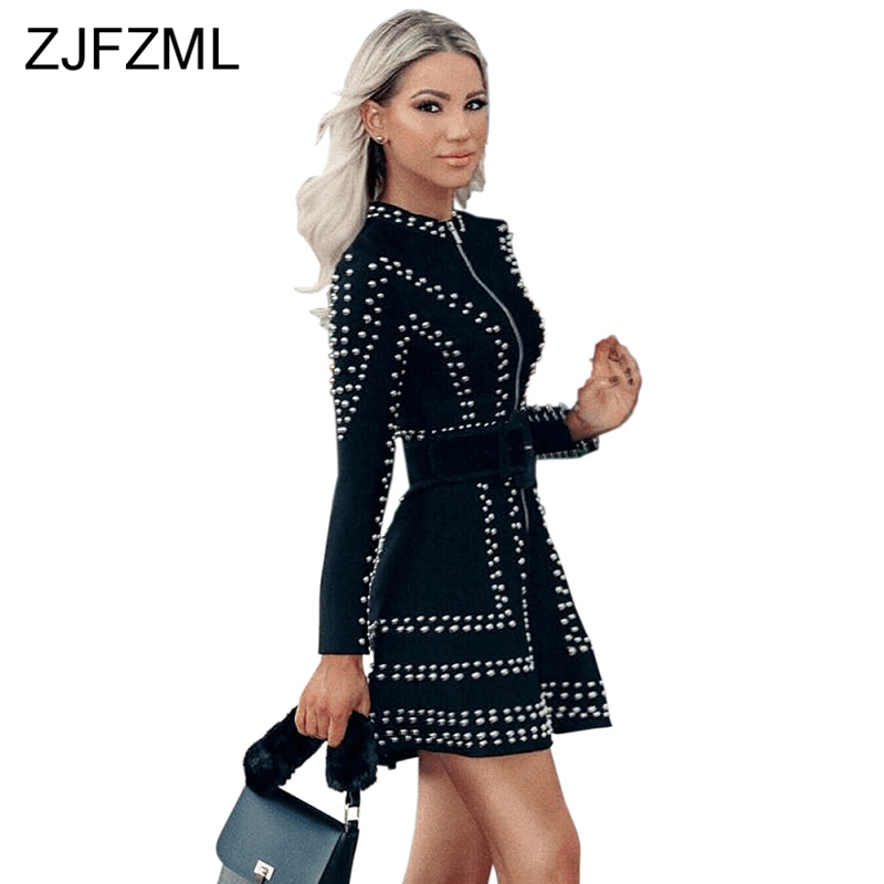 Glitter Strass Sexy Deux Pièces Robe Femmes Col montant À Manches Longues A-ligne Robe Streetwear Avant Zip Taille Haute Mini Robe