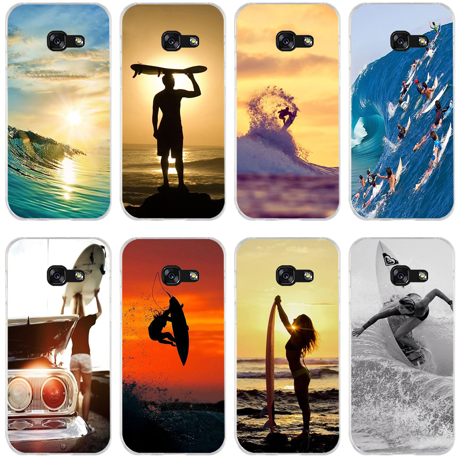 40A surfing surfer waves Soft Silicone Tpu Cover phone Case for Samsung galaxy a3 a5 2016  2017 a6 A8 2018