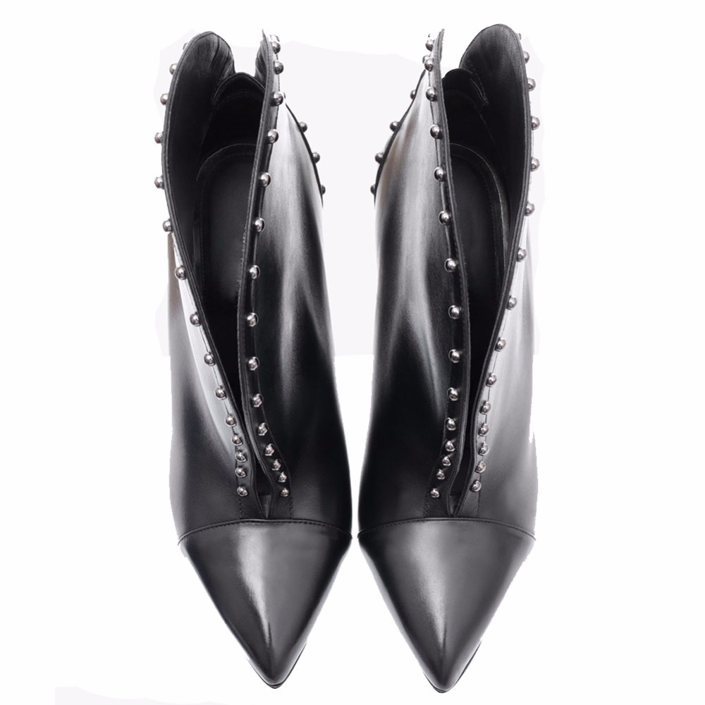 Chelsea Fashion Mixed Color Pointed Toe Short Woman Boots With Rivets Mirror Surface Studs High Heel Slip On Ladies Ankle Boots in Ankle Boots from Shoes