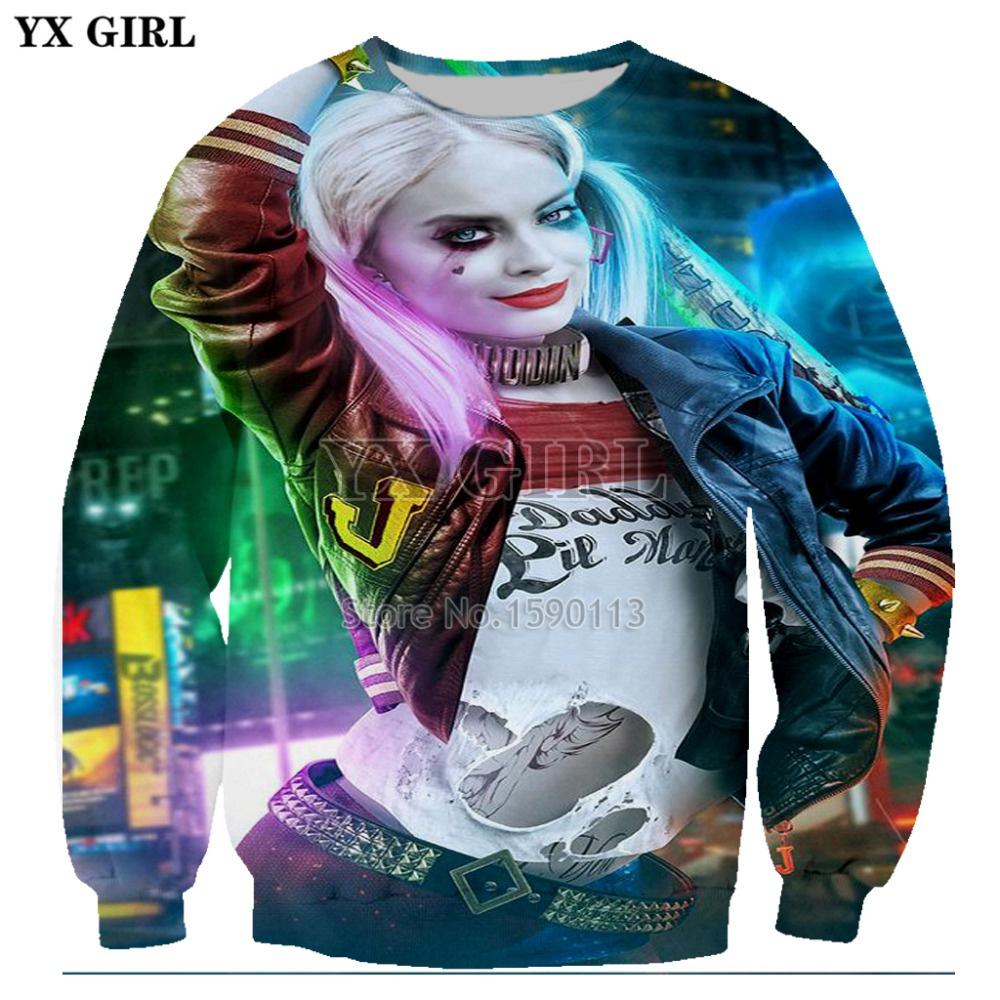 YX GIRLNew fashion Men Women Harley Quinn 3d pullover Sweatshirt casual print hooded sweatshirt plus size S-5XL new arrival
