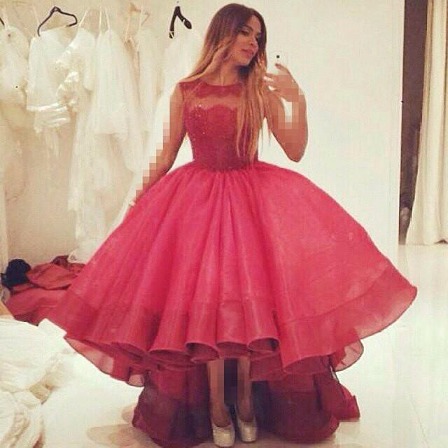 aa7e1e335cd4 Princess Ball Gown Burgundy 2016 Prom Dresses Wine Red Crepe Tiered High  Low Evening Dresses Sequins Scoop Floor Length