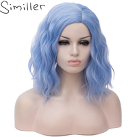 Similler Short Wavy Bob   Wigs   Blue Black Grey Synthetic Hair   Wig   Heat Resistant Fiber Middle Parting For Women Party   Cosplay