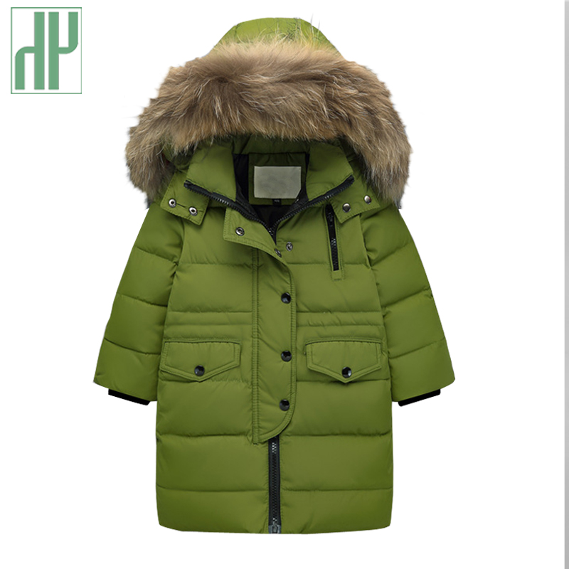 2-14Y kids winter jacket white duck down parka coat girl faux fur coat Warm Thick teenage jackets for boy children outerwear fashion girls winter white duck down jackets and coats children faux fur hooded long coat kids girl thick warm jacket 2017