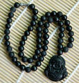 Natural Black Bian Stone Carved Lucky Laughing Buddha Pendant Beads Necklace Massager Beauty Healthy Care