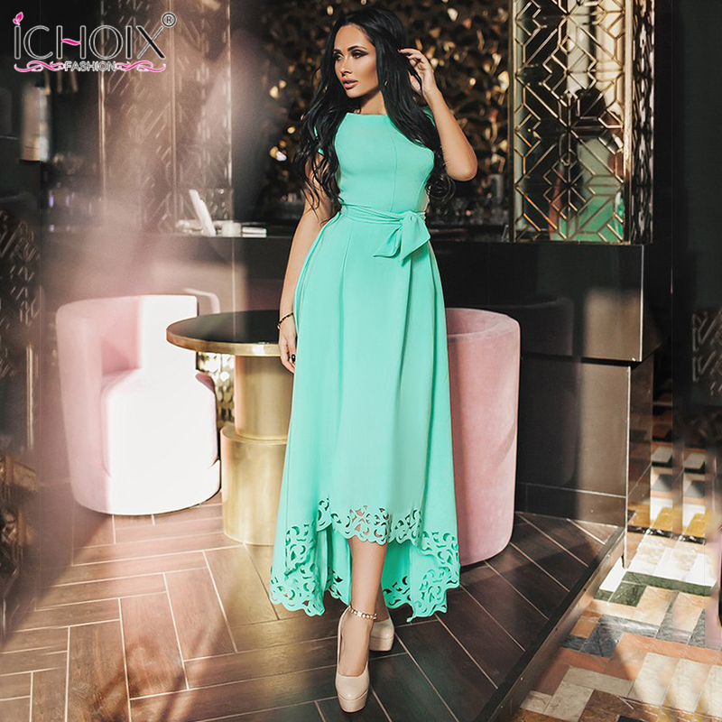 2019 Summer Women Dresses Maxi Short Sleeve Women Clothing O-neck Hollow Out Vintage Dress Sashes long party dress Fashion Solid